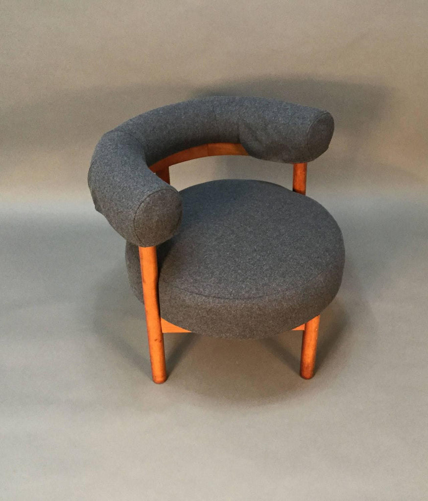 Modern Mid-Century Teak and Wool Upholstered Corner Chair