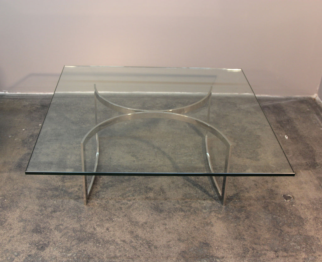 Chrome Base and Glass Top Mid-Century Coffee Table