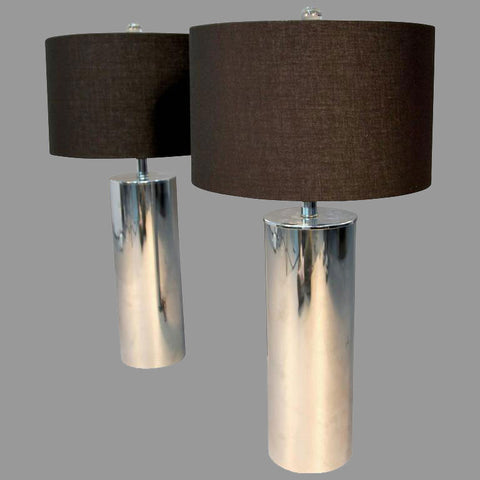 Pair of Vintage Chrome Tube Lamps