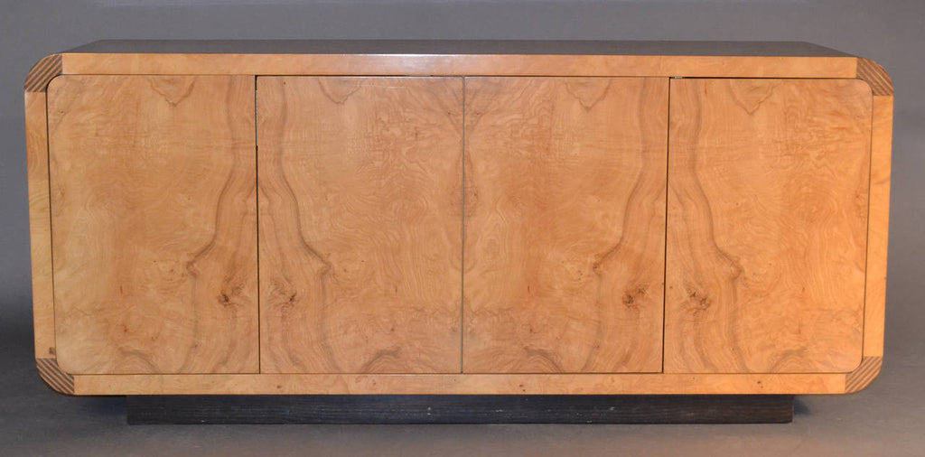 Burled Olivewood Credenza by Henredon Attributed to Milo Baughman