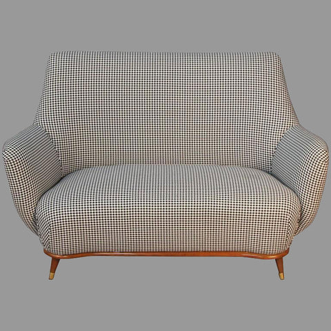 Mid-Century Settee with Custom Houndstooth and Pleated Velvet Upholstery