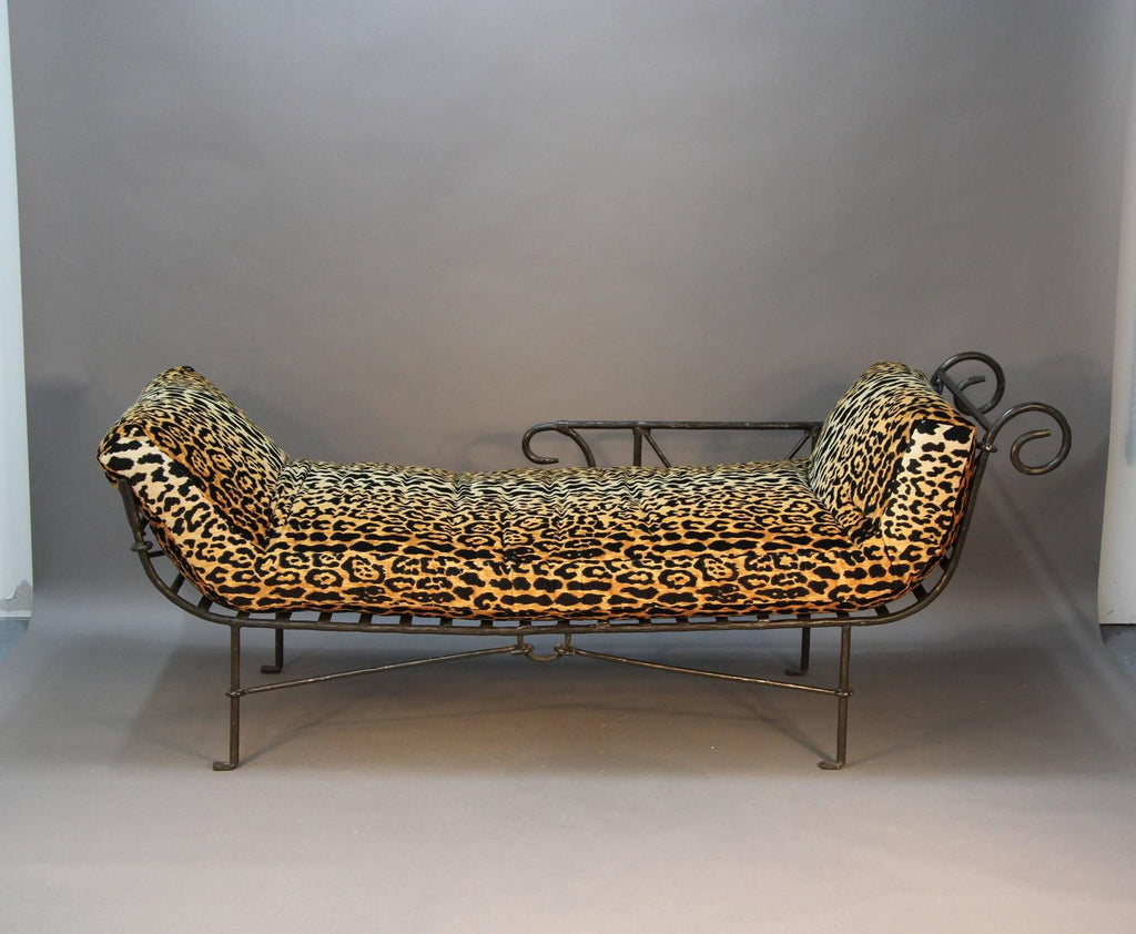 Iron Hand-Crafted Daybed with Leopard Print in the Manner of Brancusi