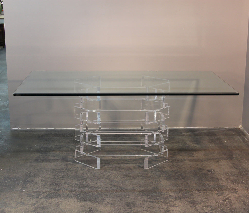 Lucite Brick Pattern Dining Table or Desk