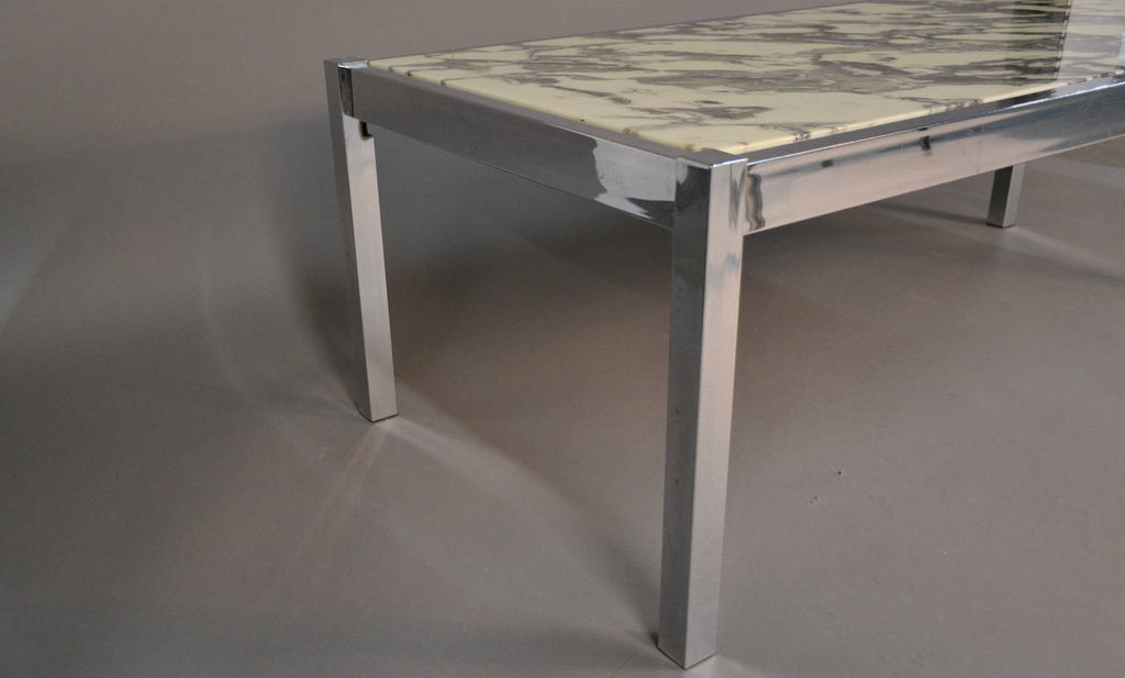 Marble and Chrome Rectangular Coffee or Cocktail Table
