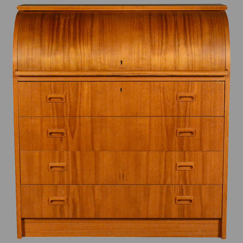Danish Teak Rolltop Desk with Four Drawers