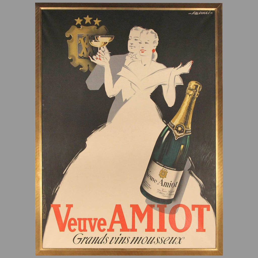 Veuve Amiot Champagne French Poster, Framed