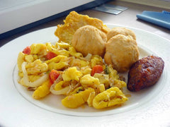 A plate of ackee and saltfish served hot daily at dam foods