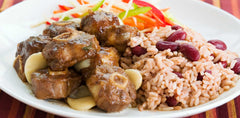 Traditional Jamaican oxtail meal on rice
