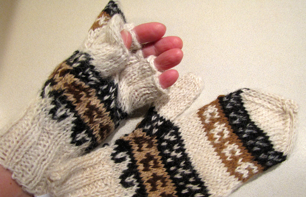 100% Alpaca Glittens (fingerless gloves and mittens in one!)