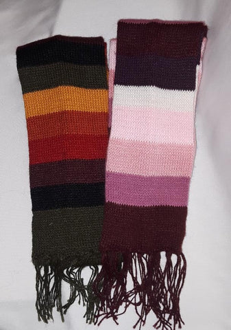 Full-Color Striped Narrow Scarf