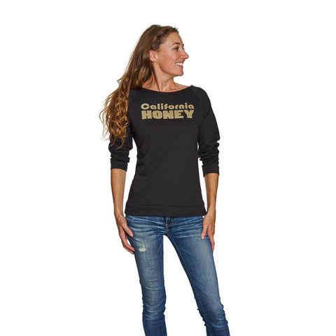 California Honey 3/4 Sleeve Raglan Shirt - Black | San Diego Honey Company®