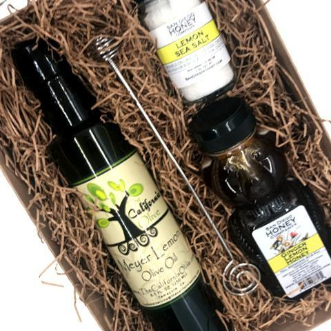 Ginger Lemon Honey, Lemon Olive Oil and Lemon Sea Salt Gift Set