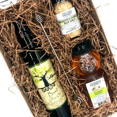 Citrus Honey, Basil Olive Oil and Roasted Garlic Sea Salt Gift Set