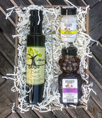 Lavender Honey, Basil Olive Oil and Lemon Sea Salt Gift Set