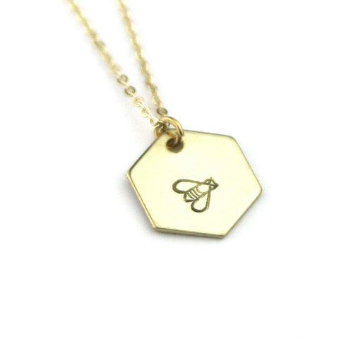 Bee Stamped Hexagon Necklace