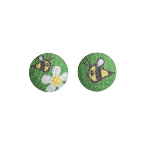 Bee Fabric Button Earrings