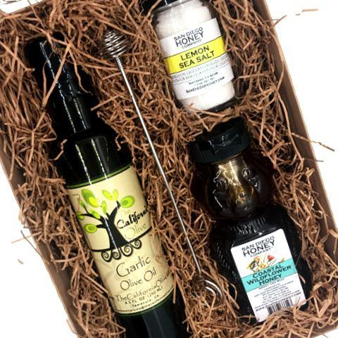 Coastal Wildflower Honey, Garlic Olive Oil and Lemon Sea Salt Gift Set