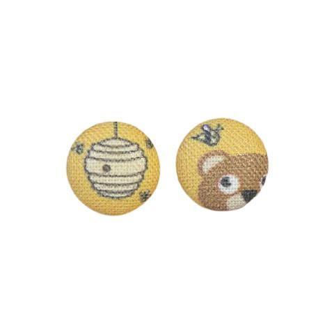 Honey Bear Fabric Button Earrings