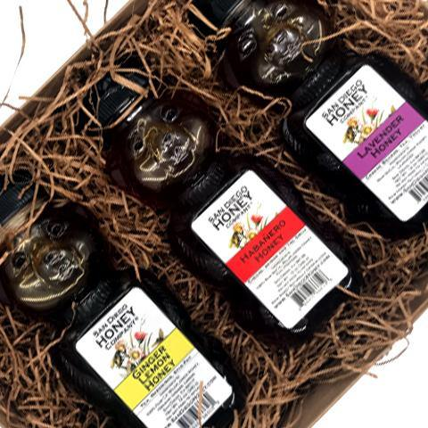 Habanero Honey, Lavender Honey and Ginger Lemon Infused Honey Bear Trio Gift Set | San Diego Honey Company®