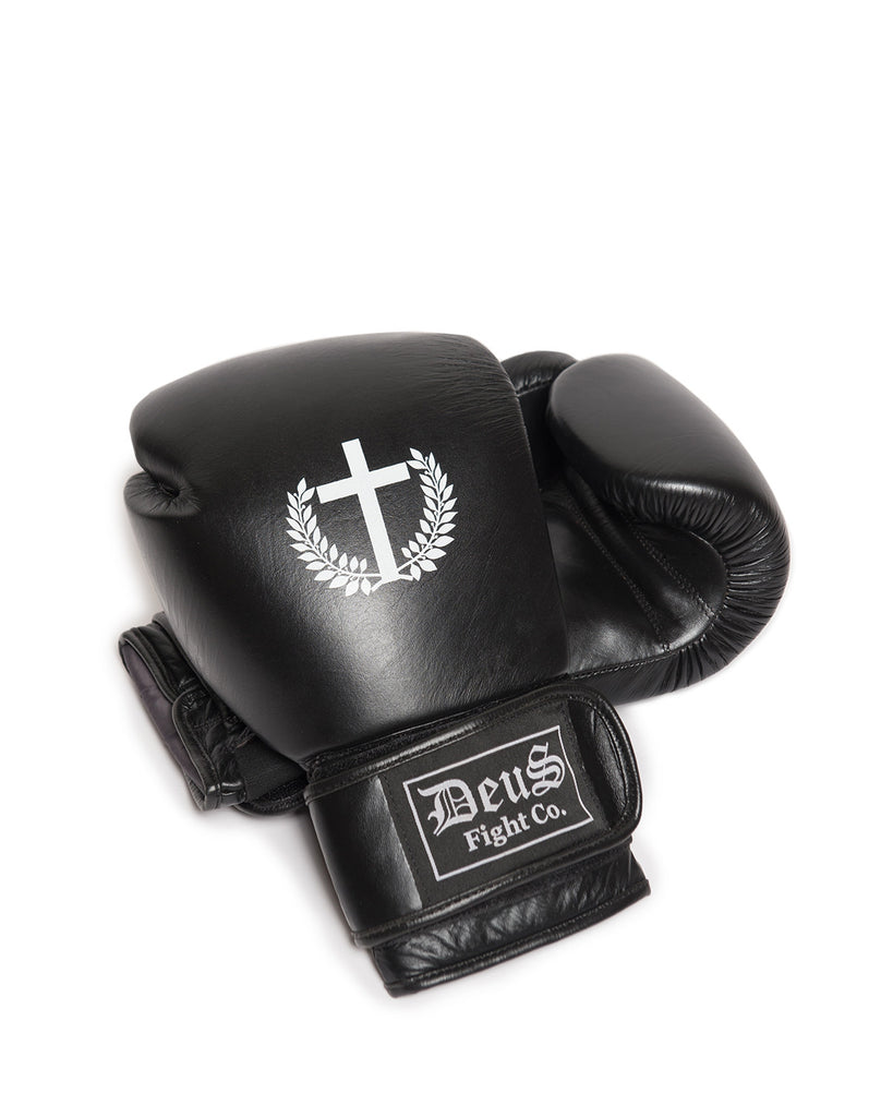 Deus Logo Black Leather Boxing Gloves
