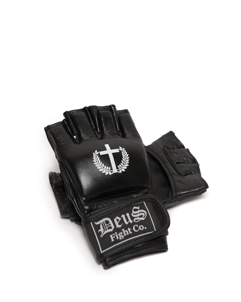 Deus Logo Black Leather MMA Gloves