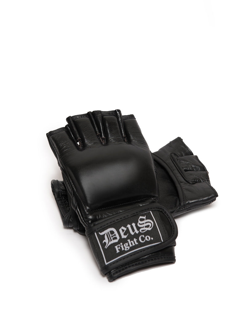 Deus Black Leather MMA Gloves