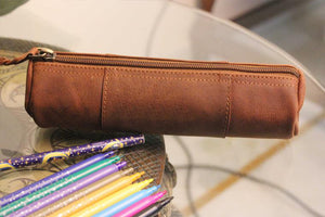 Leather Pencil Case Holder Pouch