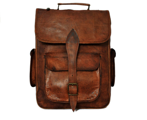 leather backpack rustic town