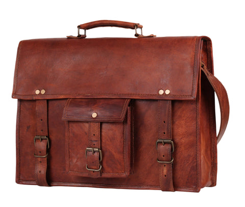 leather messenger bag satchel rustic town