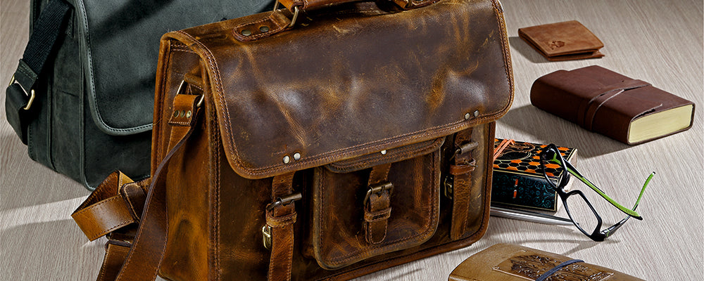 Leather Messenger Laptop School Bags