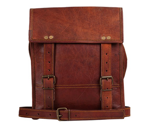 Leather messenger bag rustic town