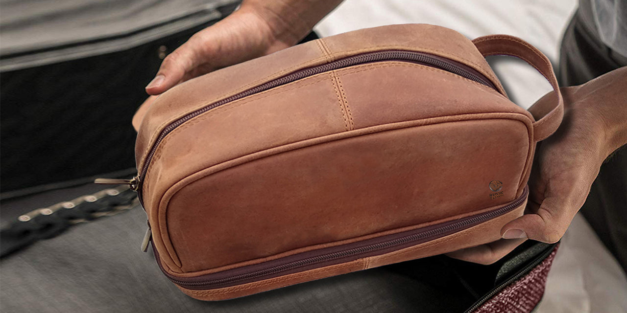 vintage Leather Toiletry Bag