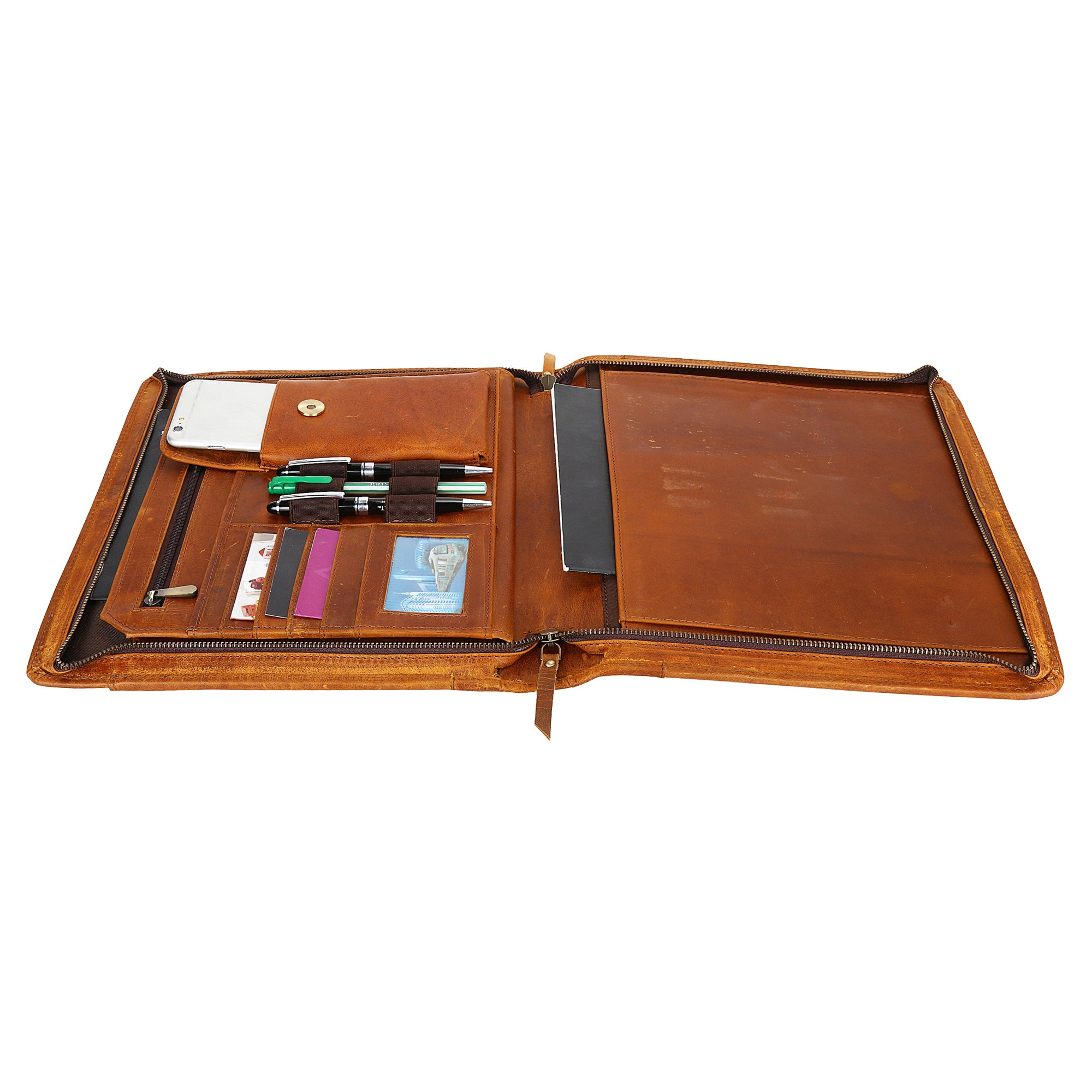 Kingsman Business Leather Padfolio Leather Portfolio Professional Organizer (Brown)