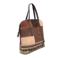 Load image into Gallery viewer, Woven Fabric Leather Boho Tote Shoulder Bag for Women