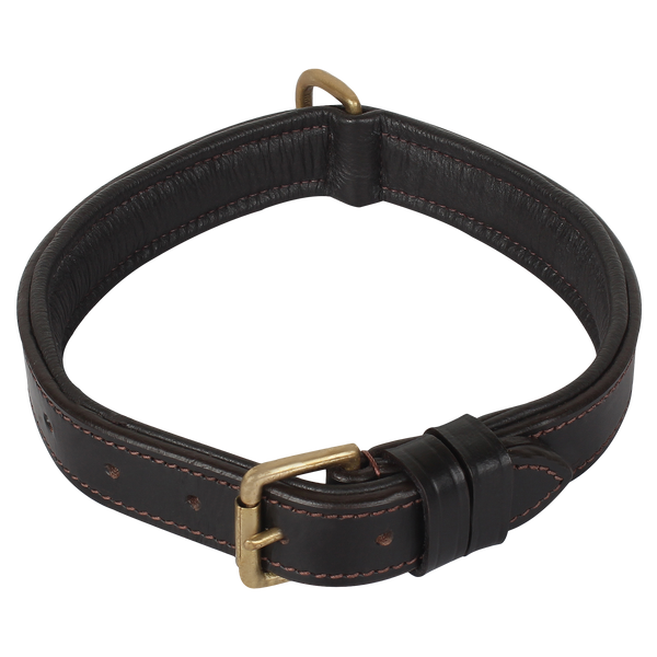 Genuine Leather Padded Dog Collar Adjustable Leather Belt