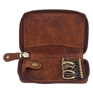 Slim Compact Key Holder Key Pouch High Quality Leather