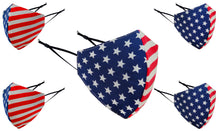 Load image into Gallery viewer, Cotton Face Masks Washable - American Flag Adjustable Reusable Face Mask Fashion Unisex - 3 Layer Protective Fabric Face Cover, Breathable Face Mask Cloth Mouth Mask (Pack of 5) 500 Set 2500 Pieces