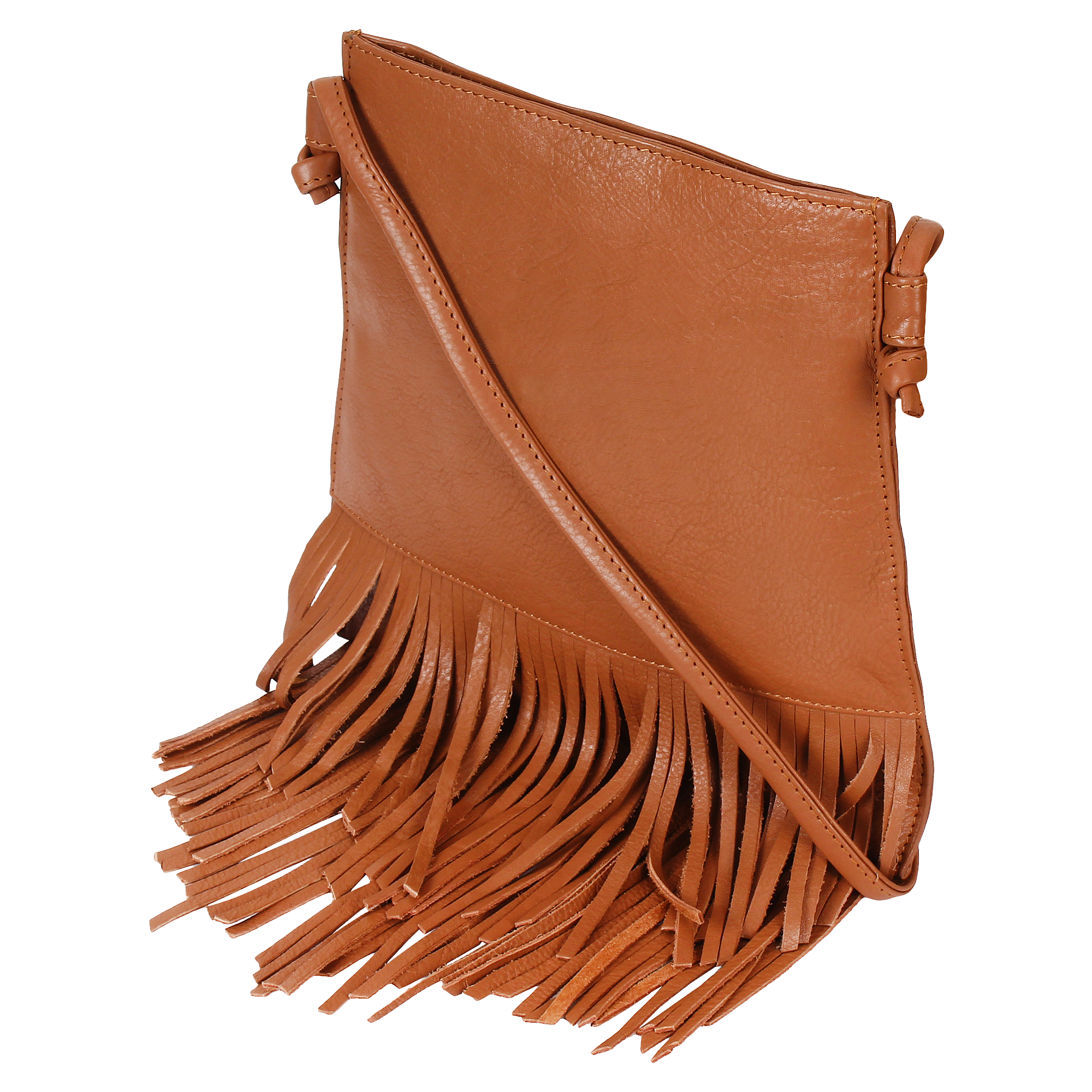 Leather Fringe Crossbody Bag for Women - Ladies Handbag Tassel Shoulder Hobo Bags (Medium, Brown)