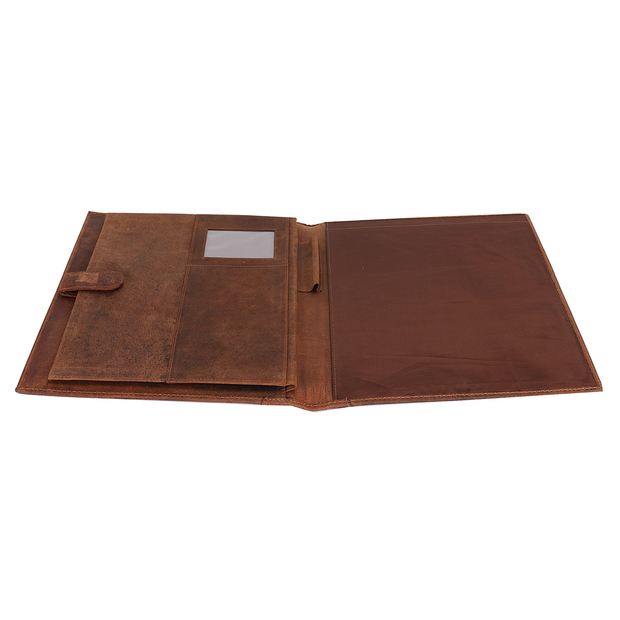 Handmade Business Leather Portfolio Professional Organizer Men Women (Brown)