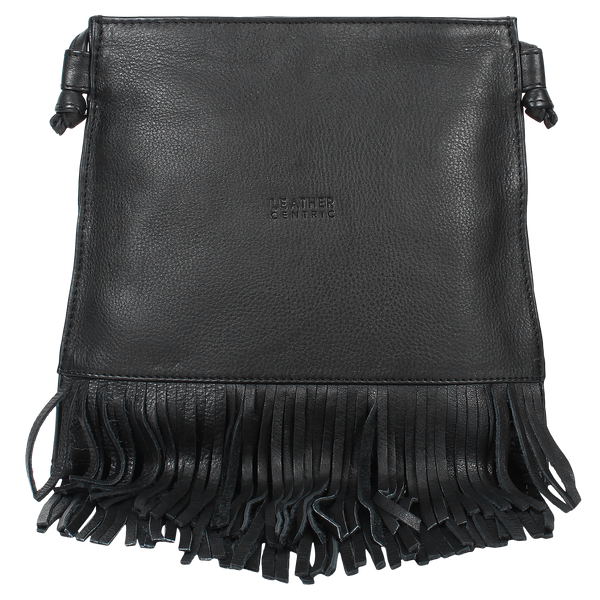 Leather Fringe Crossbody Bag for Women - Ladies Handbag Tassel Shoulder Hobo Bags (Medium, Black)
