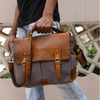 Rover Leather Canvas Messenger Bag Briefcase Laptop Bag (Dark Grey)