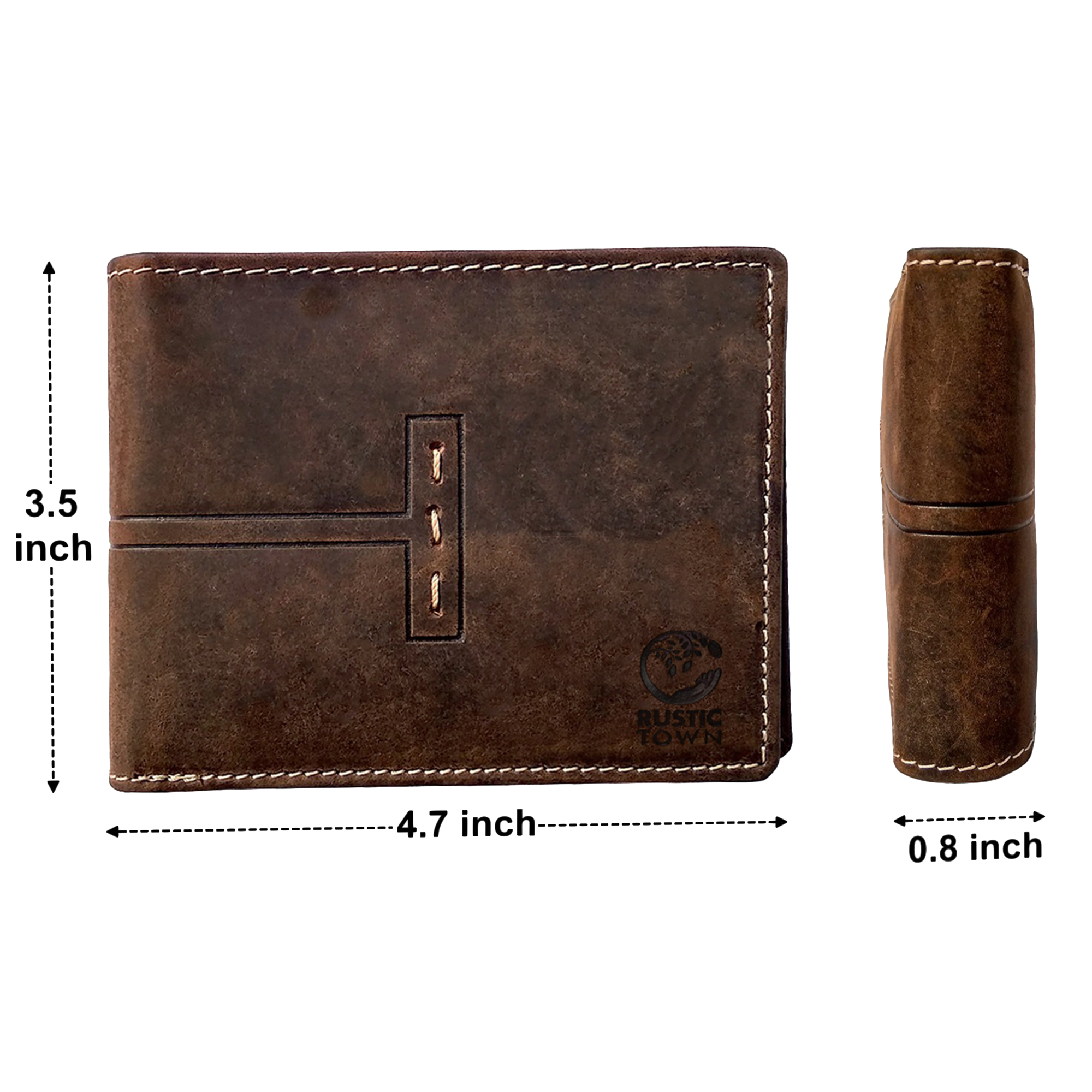 RFID Protected Leather Wallets for Men Bifold Wallet With Coin Pocket (Dark Brown)