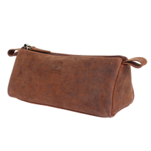 Load image into Gallery viewer, Tom Leather Pencil Case - Zippered Pen Pouch (Brown)