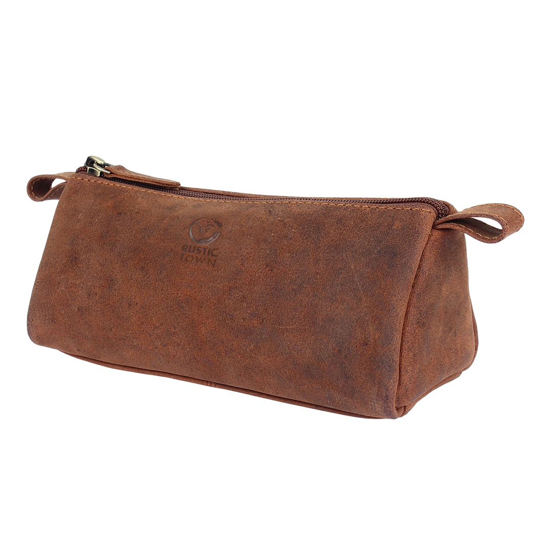 Tom Leather Pencil Case - Zippered Pen Pouch (Brown)