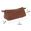 Tom Leather Pencil Case - Zippered Pen Pouch for School, Work & Office (Brown)