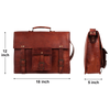 Vintage Style Classic Leather Satchel Briefcase Laptop Bag (18 inch)
