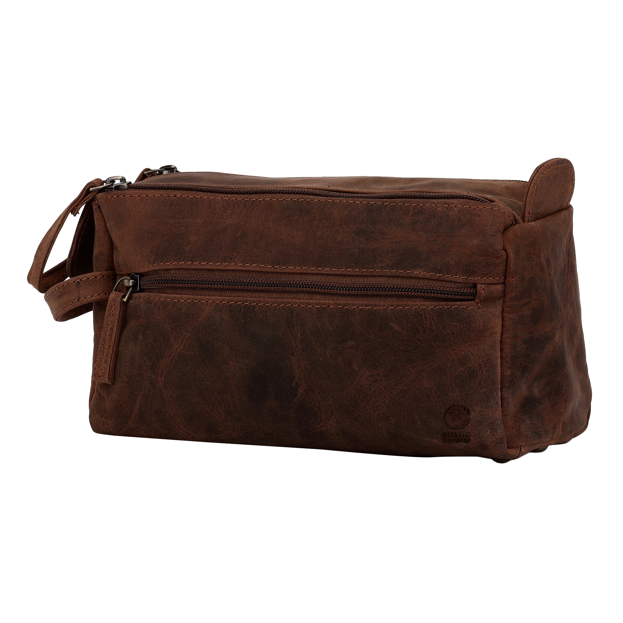 Hugh Leather Shaving Bag For Travel (Dark Brown)