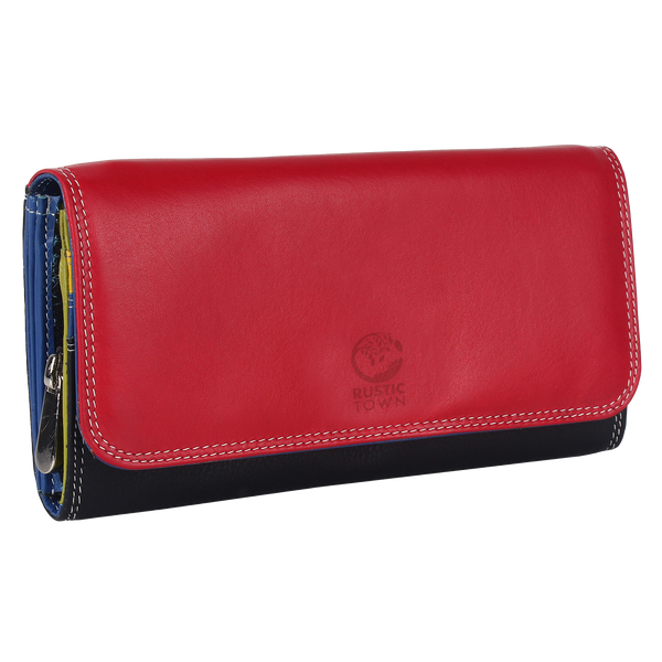 RFID Blocking Leather Bifold Zippered Clutch Wallet Women