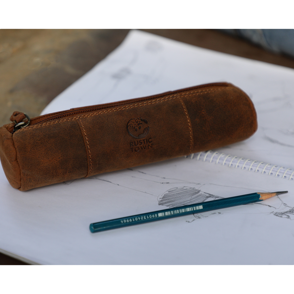 Winnie Leather Pencil Pouch - Zippered Pen Case for School, Work & Office by Rustic Town (Brown)