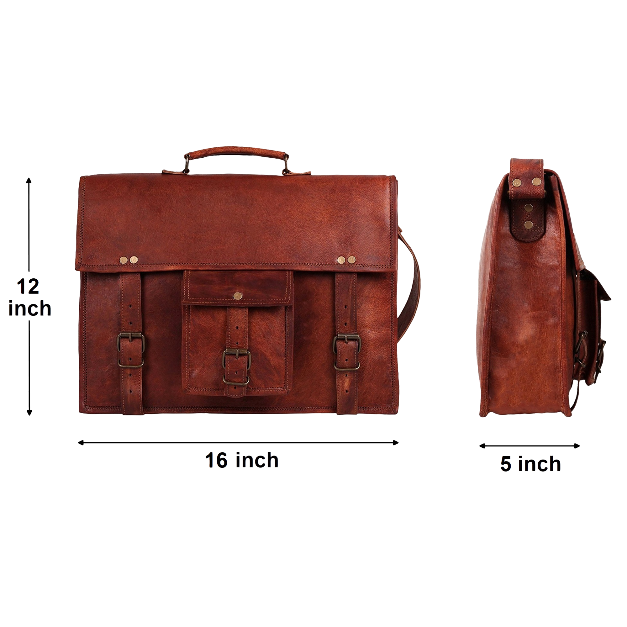 Beast Handmade Classic Leather Briefcase Satchel Laptop Messenger Bag (16 inch)